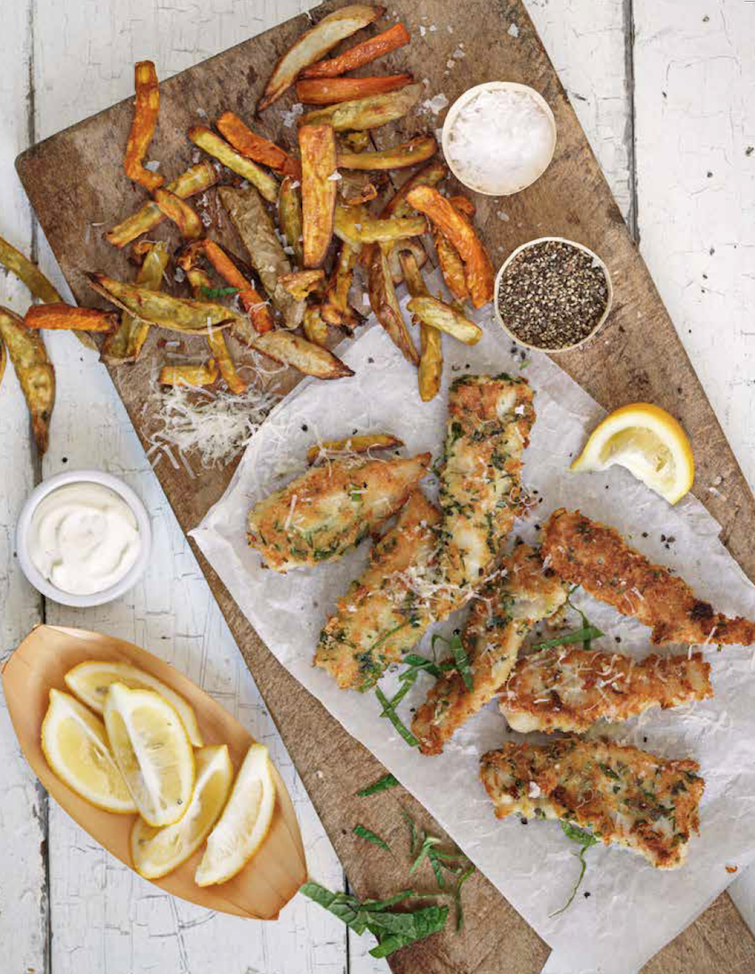 Herb crusted fish & chunky veggie chips