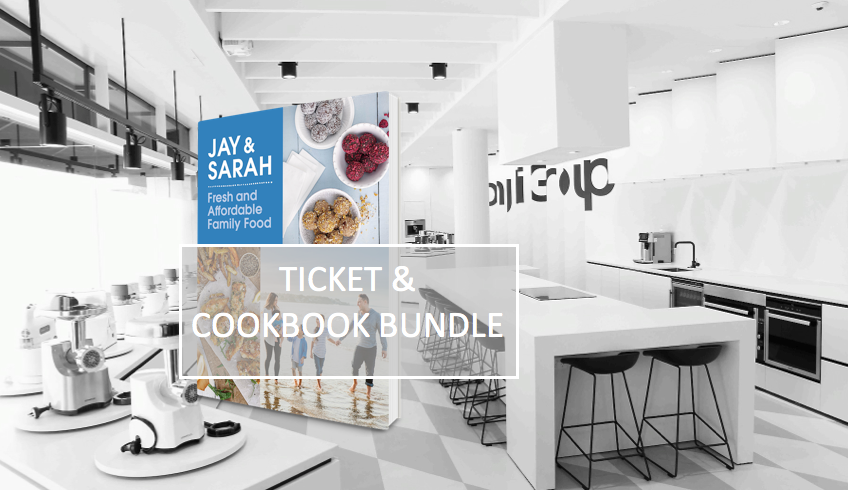 Cooking demo ticket and cookbook bundle - www.jayandsarah.nz